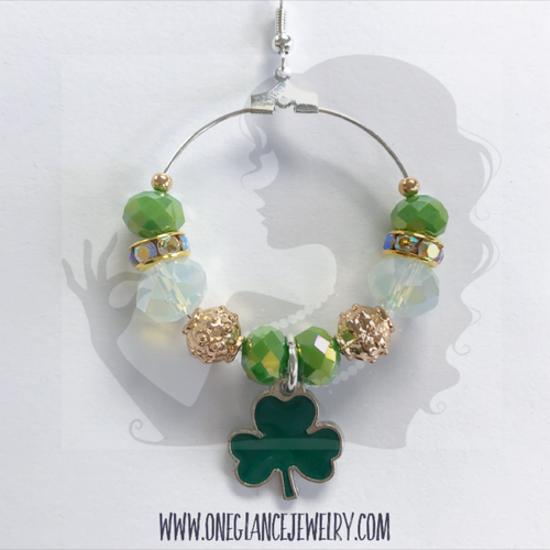 St Patricks Day hoop earrings