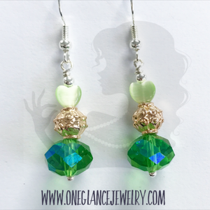 Green earrings with heart