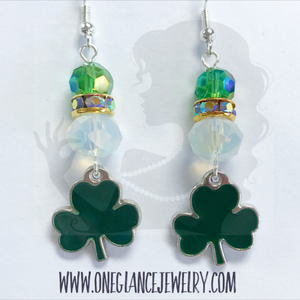 St Patricks Day earrings with shamrock charm
