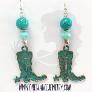 Turquoise patina boot earrings