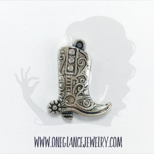 Pewter boot charm with rhinestones