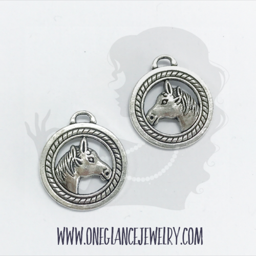 Pewter horse charm, double sided
