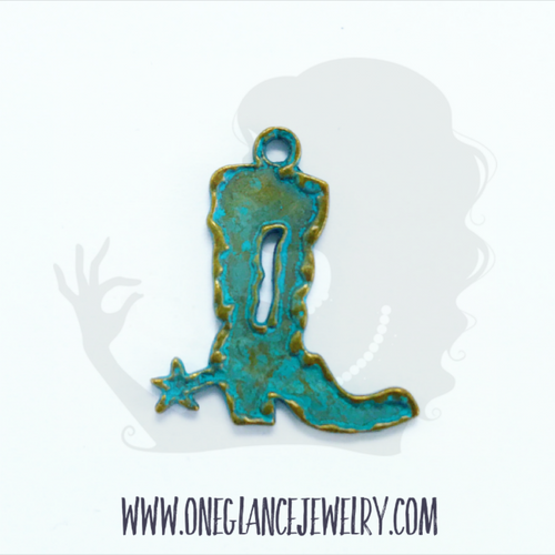 Pewter boot charm with turquoise patina