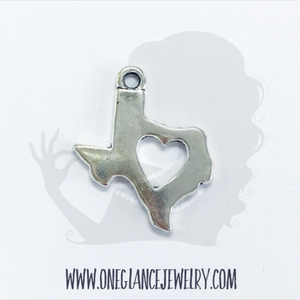 Pewter Texas charm with heart cut out