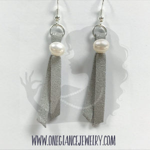 Leather earrings with pearl, silver glitter