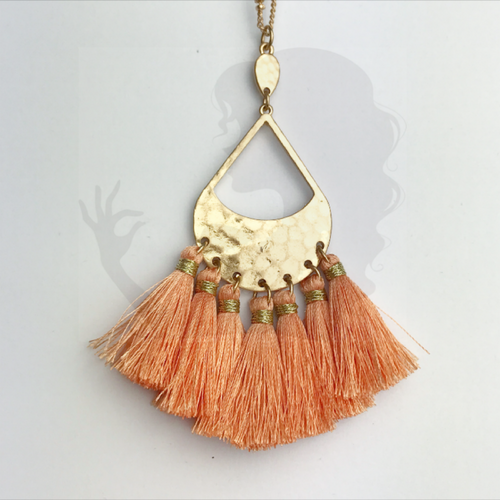 Multi-tassel necklace with hammered centerpiece, MELON