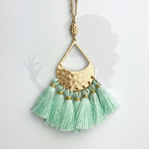 Multi-tassel necklace with hammered centerpiece, MINT