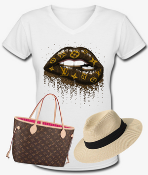 Luxe Lips T-Shirt (LV - BROWN)