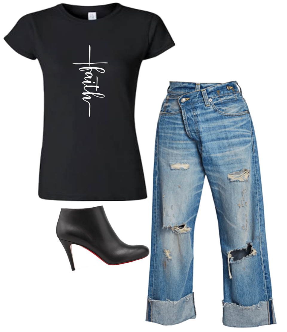 Faith Script T-Shirt (4XL - Plus Size)