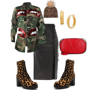 Red Lip Camo Jacket *Order 2 Sizes Up*