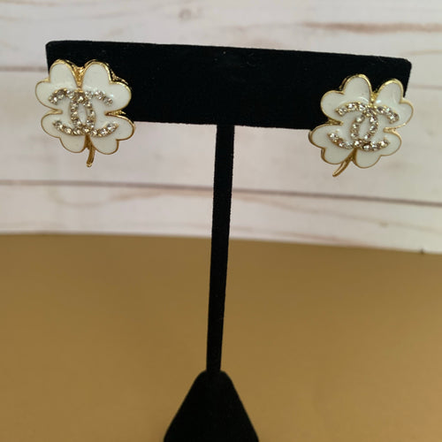White Leaf Double C Studs