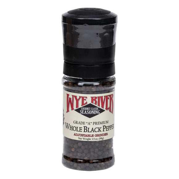 Grade A Premium Whole Black Peppercorns with Adjustable Grinder