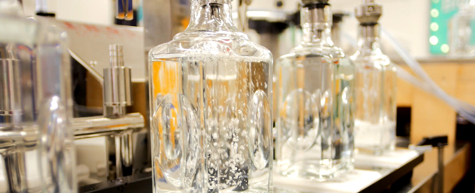 Bottling Brighton Gin at the gin distillery in Sussex