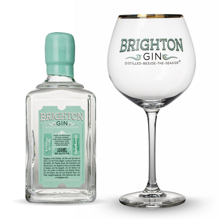 Brighton Gin 350ml Pavilion (40% abv) & Single Gin Glass