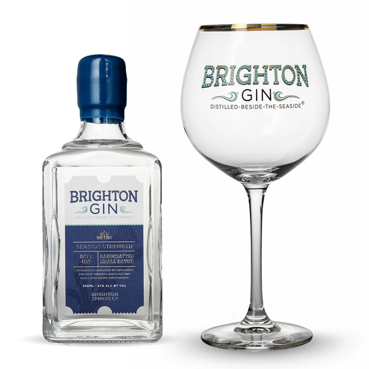 350ml Brighton Gin Seaside Strength (57% abv) & Single Gin Glass
