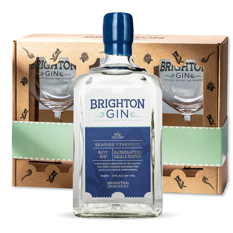 Brighton Gin Gift Sets with 2 gin glasses - 700ml Seaside Navy Gin 57%