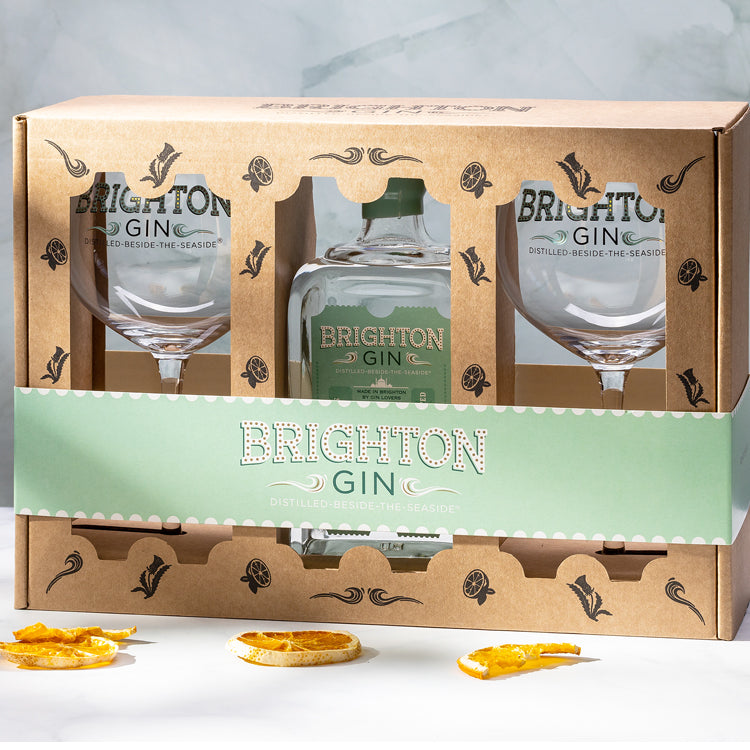 Brighton Gin Gift Sets include two gin glasses