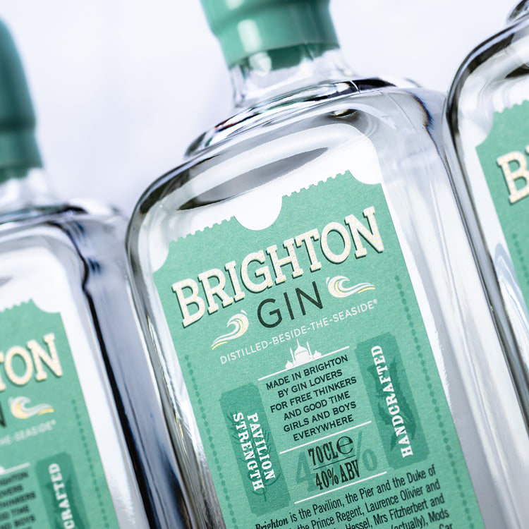 Close up of Brighton Gin bottles