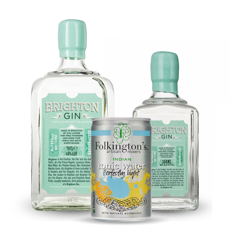 Brighton Gin Pavilion 700ml & 350ml Bottles with Folkingtons Tonic