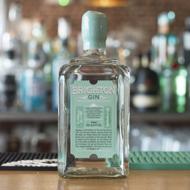 Brighton Gin on the bar