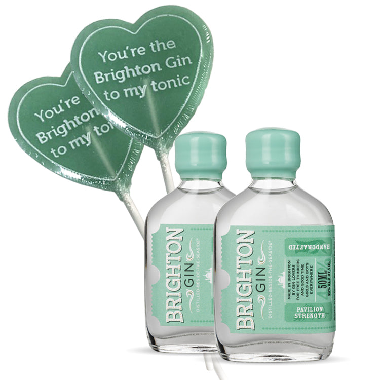 Brighton Gin Twinset - 2 x 50ml Miniatures & 2 x Brighton Gin Flavoured Lollipops