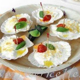 Burrata Appetizer Bottarga and Cherry Tomatoes on Scallop Shells