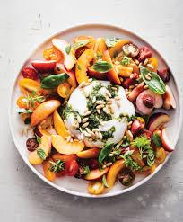 Nutty Salad with Heirloom Tomatoes, Peaches & Burrata Cheese