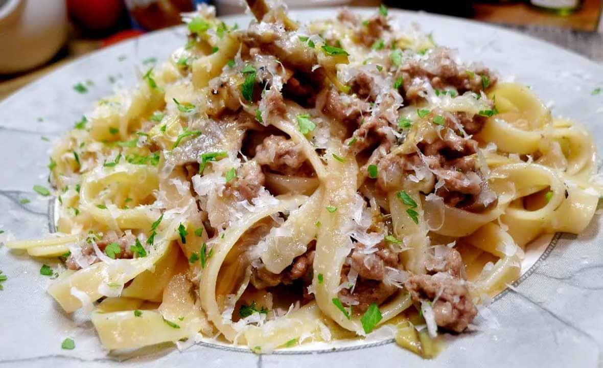 Lamb, cheese and egg fettuccine