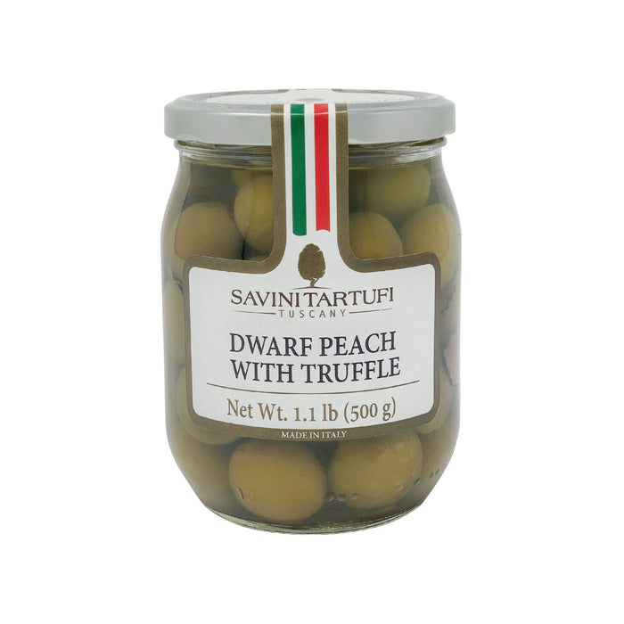 Tuscan Dawrf Peaches With Truffle Flavoured Slices 500gr Jar