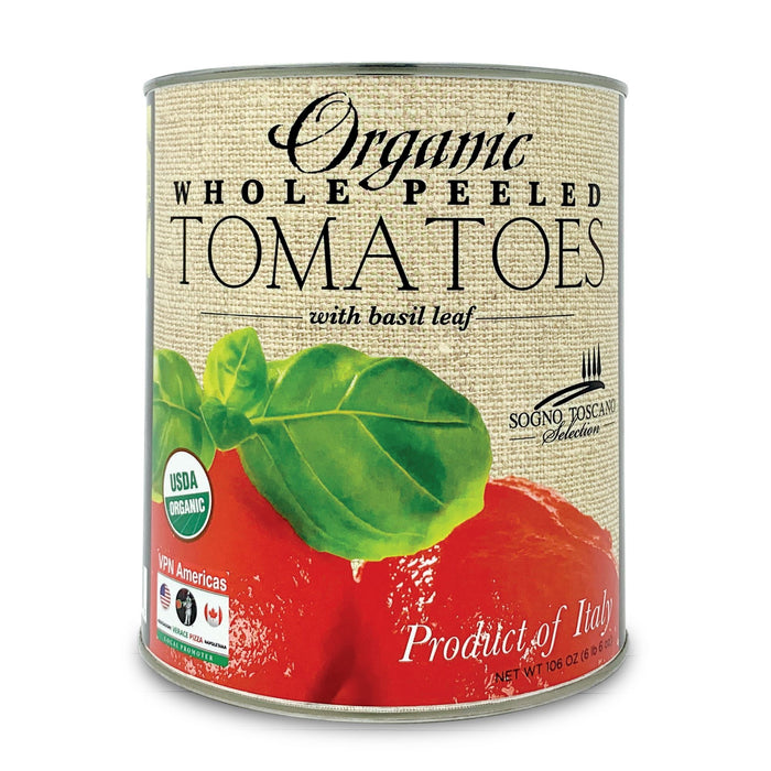 Imported Organic whole peeled tomatoes large 3.4kg Can