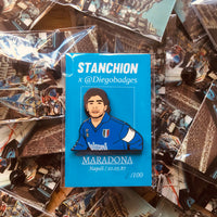 Maradona in Napoli book and badge (Stanchion x DiegoBadges)