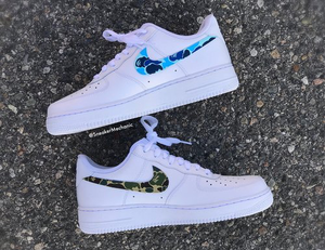 Green/Blue Bape Camo Air Forces