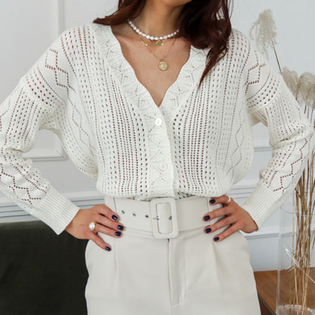 Simplee Lace hook flower V-neck pearl button knitted cardigan coat Casual sweater cardigan Elegant autumn ladies sweater tops