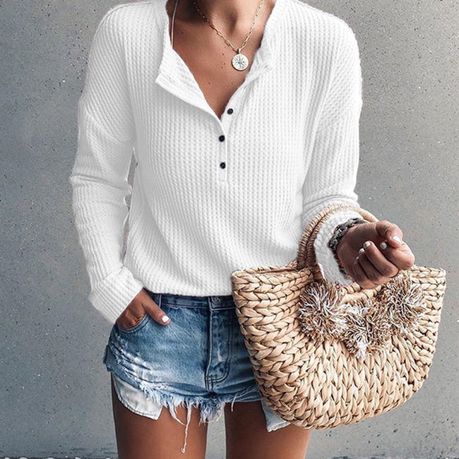 Casual O- neck Buttons Blouse Shirt