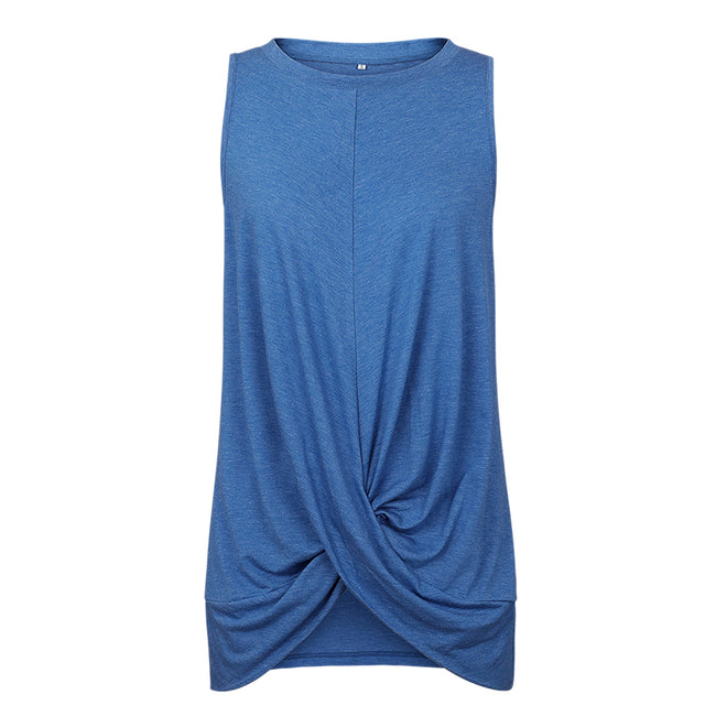 Simplee Sexy women sleeveless twist knot loose t shirt top Casual feminina  solid tunic T tops Blue female ladies tops shirts