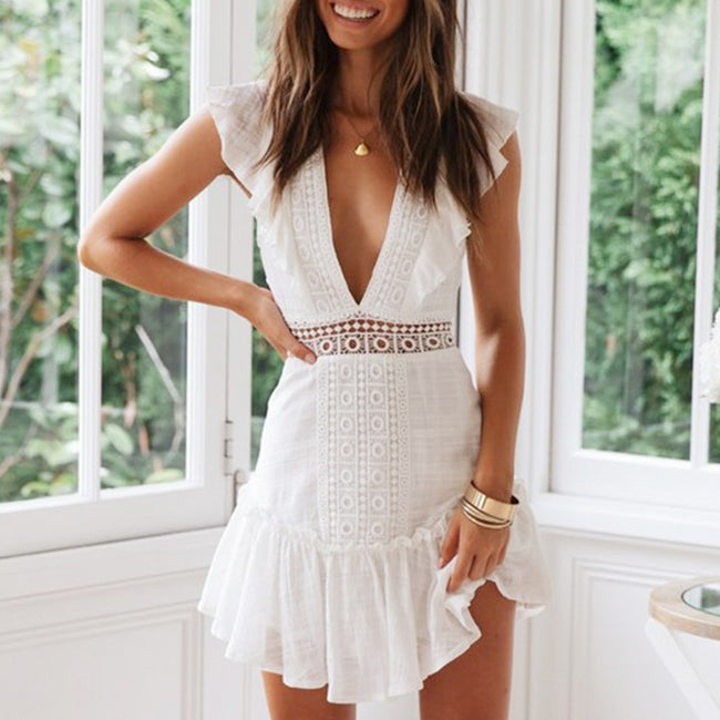 Embroidery Lace up Short Dress