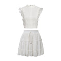 Simplee Two-piece white holiday dress women Sleeveless hollow out ruffle lace up mini dresses Summer short top skirt lady dress