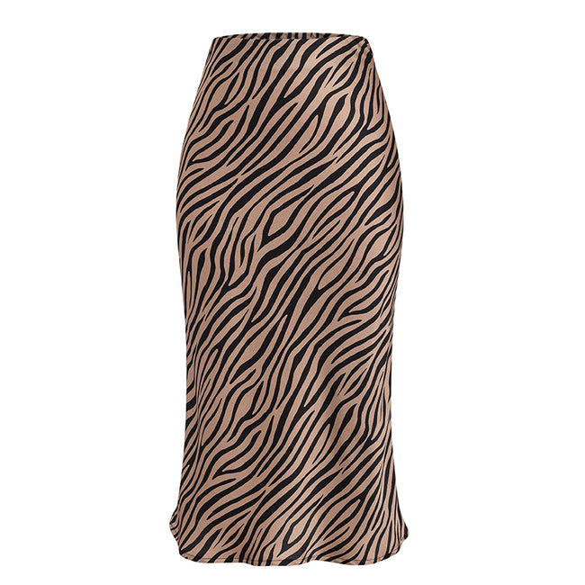 Zebra Stripe Midi High Waist Skirt