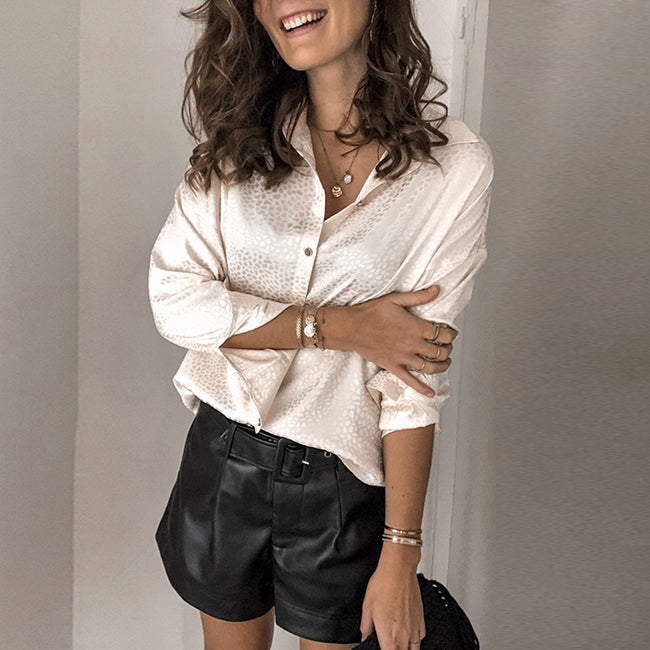 Blancha- Casual Satin Loose Blouse Shirt