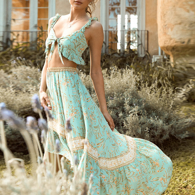 Boho-  Floral Maxi 2 pieces Dress Suits