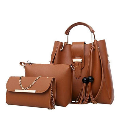3Pcs/Sets female Handbags Leather Shoulder Bags female casual wear