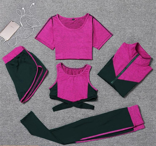 Nellie's Way Active Wear-5 Pcs set (coat+t shirt+bra+shorts+leggings) - Nellie's Way Beauty, Inc.