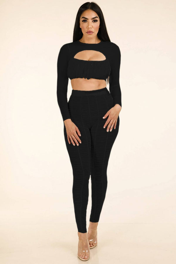 Shirred Mesh Top & Ruched Mesh Leggings Set - Nellie's Way Beauty, Inc.