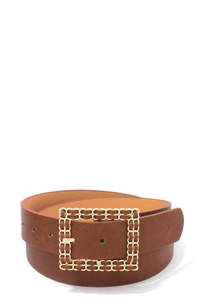 Square Shape Metal Buckle Pu Leather Belt - Nellie's Way Beauty, Inc.