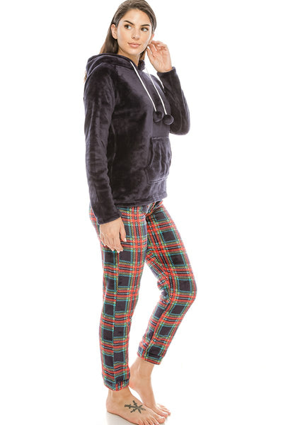 2pc Flannel Pj Set W/ Hoodie - Nellie's Way Beauty, Inc.