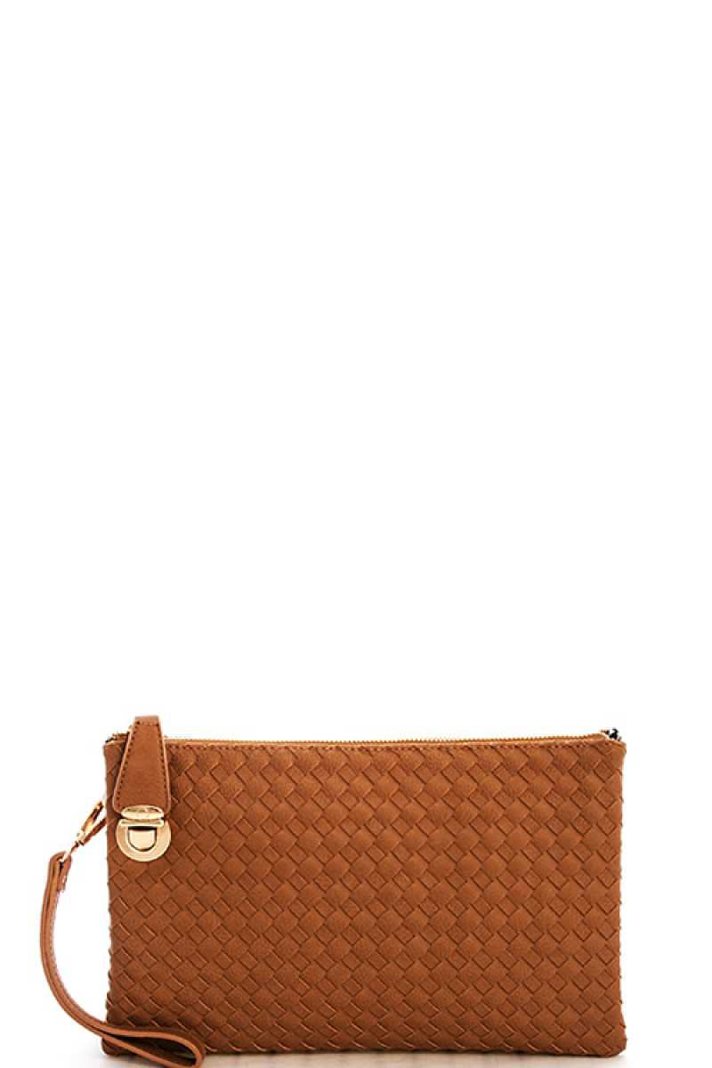 Fashion Cute Trendy Woven Clutch Crossbody Bag With Two Straps - Nellie's Way Beauty, Inc.