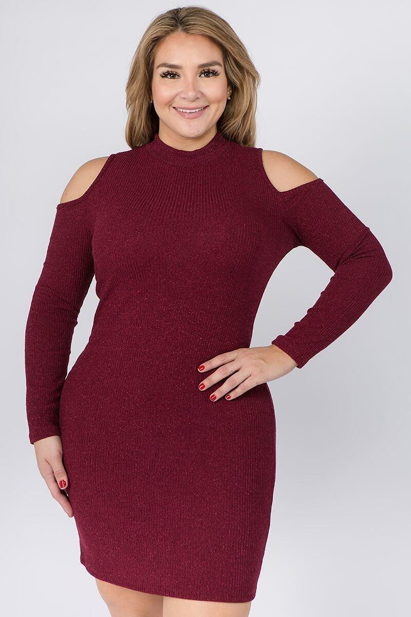 Embellished Solid Rib Knit Cold Shoulder Long Sleeve Dress - Nellie's Way Beauty, Inc.