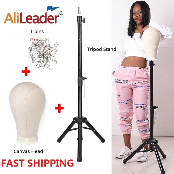 Nellie's Way Beauty ~125Cm Wig Stand Wig Tripod With Mannequin Canvas Block Head Adjustable Tripod Stand And  Wig Making kit T-Pins Gift - Nellie's Way Beauty, Inc.