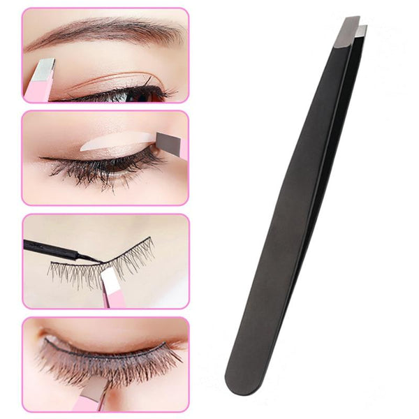 1PC Black/Pink Eyebrow Tweezer Hair Beauty Slanted Puller Stainless Steel Eye Brow Clips Hair Removal Makeup Tool - Nellie's Way Beauty, Inc.
