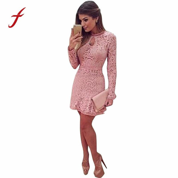 Women Empire Regular Lace Full Sleeve Mini Dress - Nellie's Way Beauty, Inc.